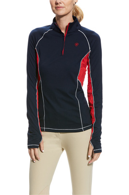 Ariat Womens Lowell 2.0 1/4 Zip Top Navy / Red