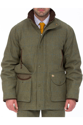 Alan Paine Mens Combrook Tweed Shooting Field Coat Lagoon