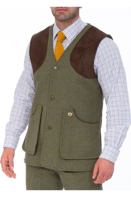 Alan Paine Mens Combrook Tweed Shooting Field Waistcoat Lagoon