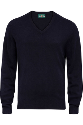 Alan Paine Mens Burford Lambswool V-Neck Jumper Dark Navy
